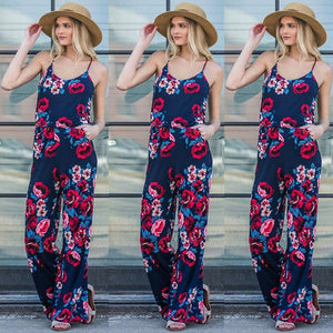 Nesa Fashion Summer Women Casual Loose Ptint Drawstring Belt Long Rompers Sexy Spaghetti Strap Off Shoulder Jumpsuits Female S-3XL