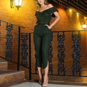Nesa Fashion Women Ruffles Neck High Waist Club wear Jumpsuit Play suit Bandage Female Party Romper Long Trousers Clothes