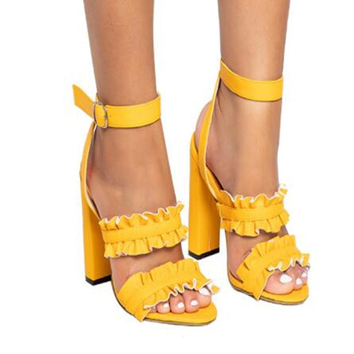 Nesa Fashion Women Sandals Woman Summer Style Bohemia High-Heel  Vintage Flowers Women Yellow Beige Shoes Sandals Pumps Sexy Shoes Size 34-43