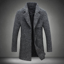 Load image into Gallery viewer, Nesa Fashion Autumn and Winter New Fashion Boutique Solid Color Casual Business Men's Long Woolen Coats / Mens Grey Long Woolen Jackets