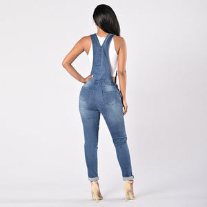 Nesa Fashion New Spring Summer  Women Overalls Cool Denim Jumpsuit Ripped Holes Casual Jeans Sleeveless Jumpsuits Hollow Out Rompers