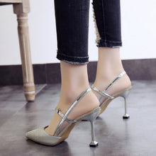 Load image into Gallery viewer, Nesa Fashion lady sexy silver shining high heel shoes women fashion golden wedding high heels sweet party night club shoes
