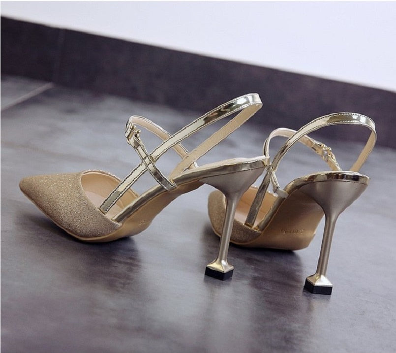 Nesa Fashion lady sexy silver shining high heel shoes women fashion golden wedding high heels sweet party night club shoes