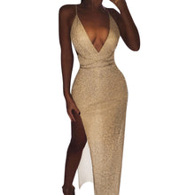 Load image into Gallery viewer, Nesa Fashion Party Long Dress  Women Glitter Deep V Neck Elegant Bandage Dresses Woman Party Night Sexy Dress Split Runway Dresses