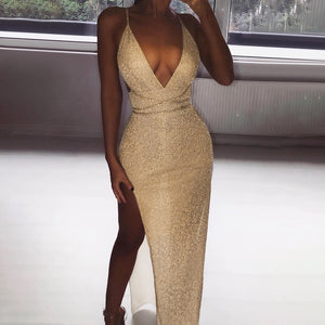 Nesa Fashion Party Long Dress  Women Glitter Deep V Neck Elegant Bandage Dresses Woman Party Night Sexy Dress Split Runway Dresses