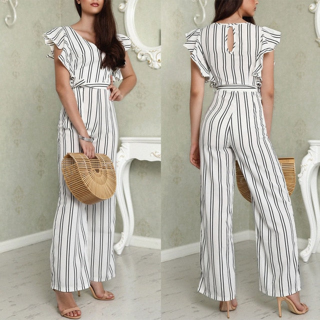Nesa Fashion Women Club wear Play-suit Bodysuit Party Jumpsuit Romper Chiffon Long Trousers US