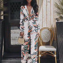 Load image into Gallery viewer, Nesa Fashion Jumpsuits for Women  Women Sexy V-Neck Floral Leaf Printed Long Sleeve Sparkly Jumpsuit