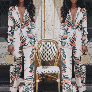 Nesa Fashion Jumpsuits for Women  Women Sexy V-Neck Floral Leaf Printed Long Sleeve Sparkly Jumpsuit