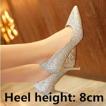 Load image into Gallery viewer, Nesa Fashion women cute sweet party night club golden high heel pumps lady leisure silver slip on high heels women sexy high heel shoes