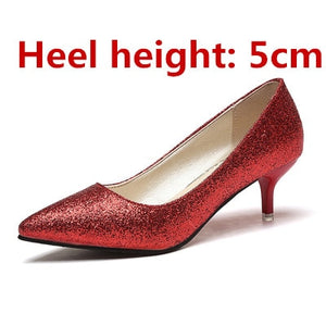 Nesa Fashion women cute sweet party night club golden high heel pumps lady leisure silver slip on high heels women sexy high heel shoes