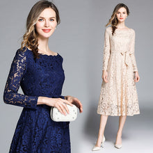 Load image into Gallery viewer, Nesa Fashion New Spring Summer Dress Women Long Sleeve Midi Party Blue Office Lace Glitter Dress