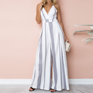Nesa Fashion bodysuit Women Summer Sleeveless Strip Jumpsuit Print Strappy Holiday Long Playsuits Trouser Fashion