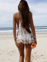 Load image into Gallery viewer, Nesa Fashion Women Summer Lace Crochet Bikini Cover Up Tops Lace Floral Solid Swimwear Bathing Suit Beach Dress Tops