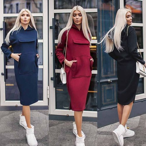 Nesa Fashion Women Long Sleeve Hooded Short Dress Hoodies Sweatshirt Pullover Jumper Top Solid Spring  Autumn Winter Ladies Pockets Outwear Dresses