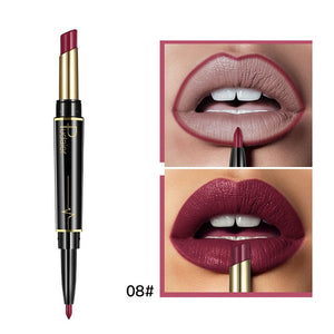 Pudaier Matte Lipstick Double Ended Long Lasting Matte Lipsticks Makeup Lipstick Set Cosmetics Nude Dark Red Lips Liner Pencil