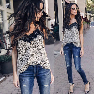 Nesa Fashion Summer Women Lace Leopard Print Shirt Sleeveless Chiffon Blouse Loose Casual Ladies Tank Tops Vest Clothes Femmel S-XXL