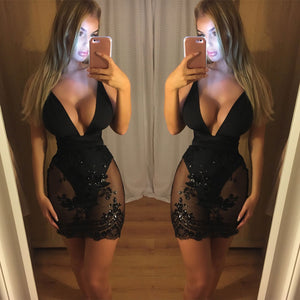 Nesa Fashion Latest Style Summer Women Sleeveless Deep V Neck Lace Mesh Bodycon Casual Party Evening Mini Sexy Dress
