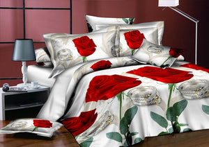 Nesa Fashion New Beautiful 3D Flower Rose Feast Pattern Bedding Set Bed sheets Duvet Cover Bed sheet Pillowcase 4pcs/set9