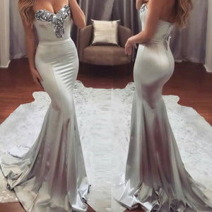 Nesa Fashion Women Dress Sleeveless Party Sequins V-neck Backless Bridesmaid Formal Long Dresses