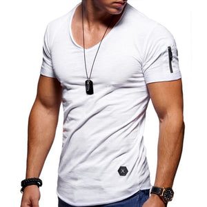 Nesa Fashion Zipper sleeve slim fit t-shirt men V Neck Raw edge t shirt men