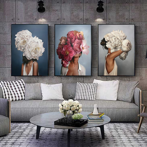 Flowers Feathers Woman Abstract Canvas Painting Wall Art Print Poster Picture Decorative Painting Living Room Home Decoration