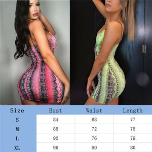 Nesa Fashion Sexy Women Sleeveless Dress Bandage Body-con  Dress Evening Party  Mini Dress Sexy Snake  Dress