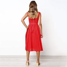 Load image into Gallery viewer, Nesa Fashion Summer Dress Women's Vintage Solid Color With Pocket Midi Dress Bandage  Retro Gown Vestidos Party Night Dresses Sundress