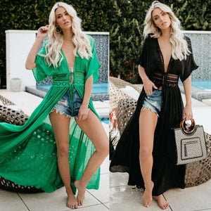 Nesa Fashion  Sexy Women Chiffon Bikini Long Cover Up  Beach Dress Cardigan long Cover Up Swimsuit Swimwear Beach Dress Bathing Suit
