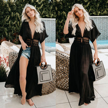 Load image into Gallery viewer, Nesa Fashion  Sexy Women Chiffon Bikini Long Cover Up  Beach Dress Cardigan long Cover Up Swimsuit Swimwear Beach Dress Bathing Suit
