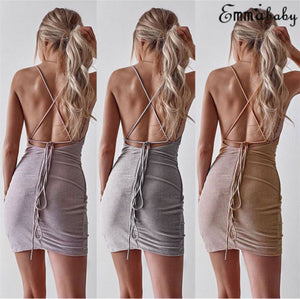 Nesa Fashion Summer Sparkly Bandage Bodycon Lace up Straps Backless Evening Party Ladies Short Mini Pencil Dress