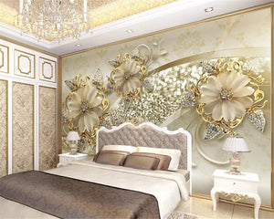 Nesa Fashion  Interior classic wall paper luxury gold 3D stereo European pattern jewelry TV background papel de parede 3d wallpaper
