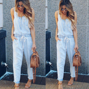 Nesa Fashion Summer Jumpsuits HOT Women Summer Casual Soft Denim Sleeveless O-Neck Lace Up High Waist Overalls Straps Jumpsuit