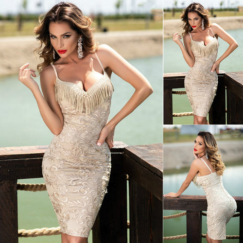 Nesa Fashion Newest Hot Womens Slim Tassel Bandage Bodycon Party Pencil V-Neck Dress Sexy Restoring ancient ways Formal Dresses