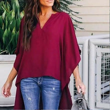 Load image into Gallery viewer, Nesa Fashion Hot Women Summer Elegant Irregular V-Neck Chiffon Blouses soft Tunic Casual Solid breathable Top Shirts