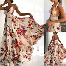 Load image into Gallery viewer, Nesa Fashion Womens Boho Dress Sleeveless Floral Tied Shoulder Backless Party Long Maxi Deep V-neck Backless Dress