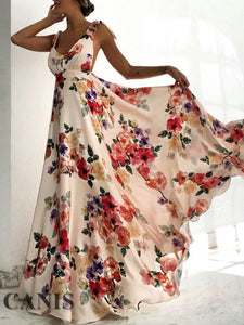 Nesa Fashion Womens Boho Dress Sleeveless Floral Tied Shoulder Backless Party Long Maxi Deep V-neck Backless Dress