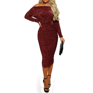 Nesa Fashion  Women Bling Off Shoulder Body con Midi Dress Party Prom Ballgown Sparkly Dress