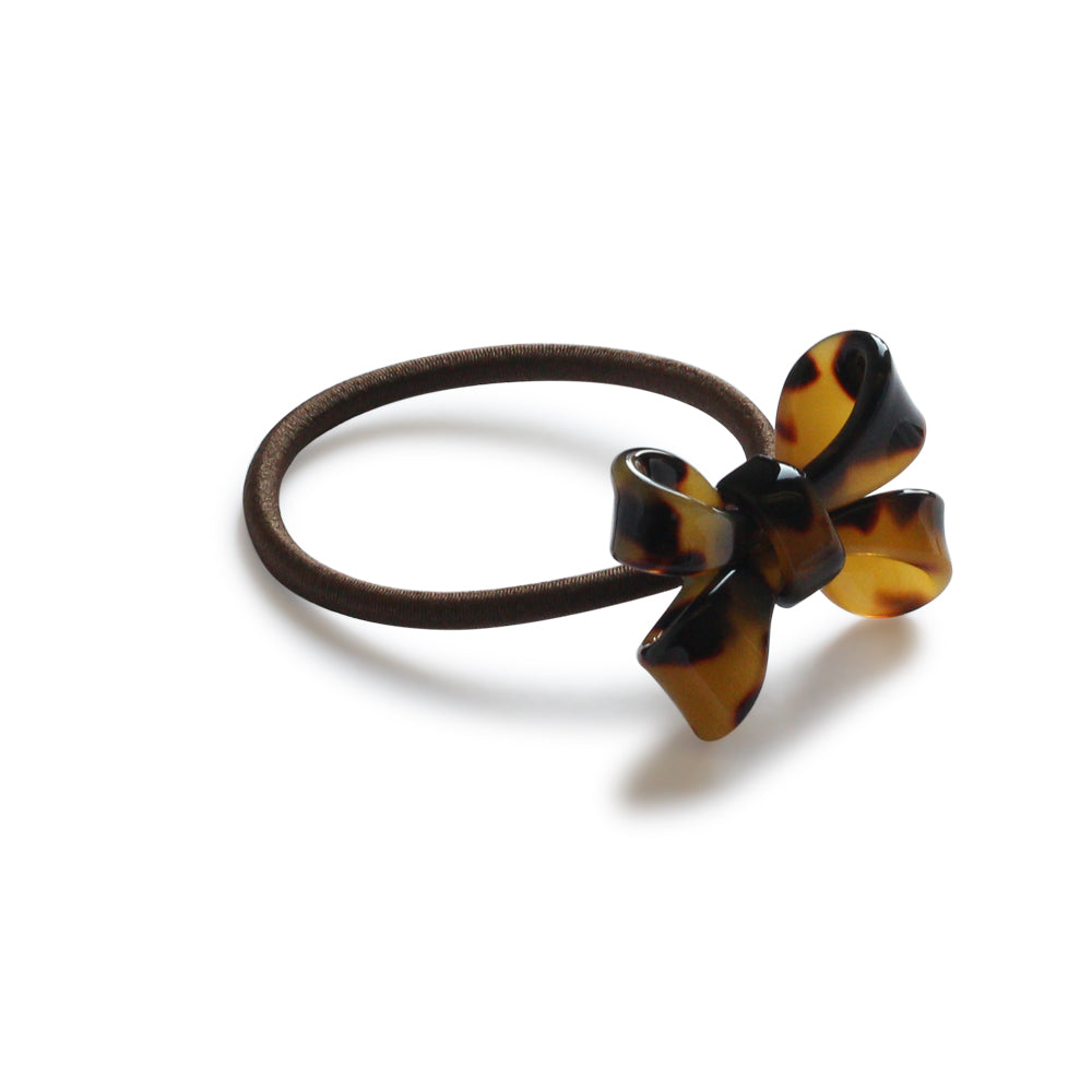 TORTOISE SHELL BOW HAIR TIE