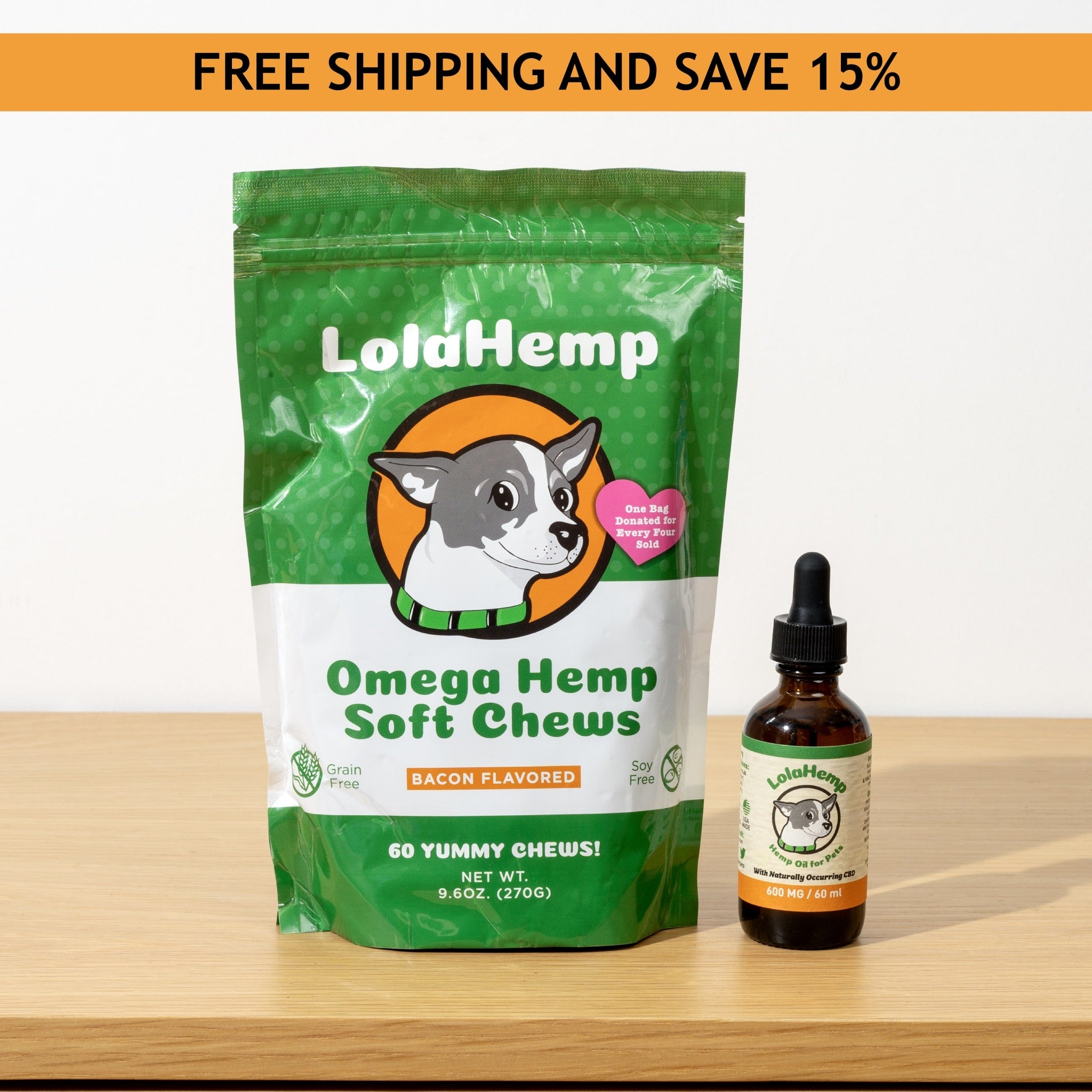 Lolahemp Large Bundle || 600MG Oil + 60 Count Chews