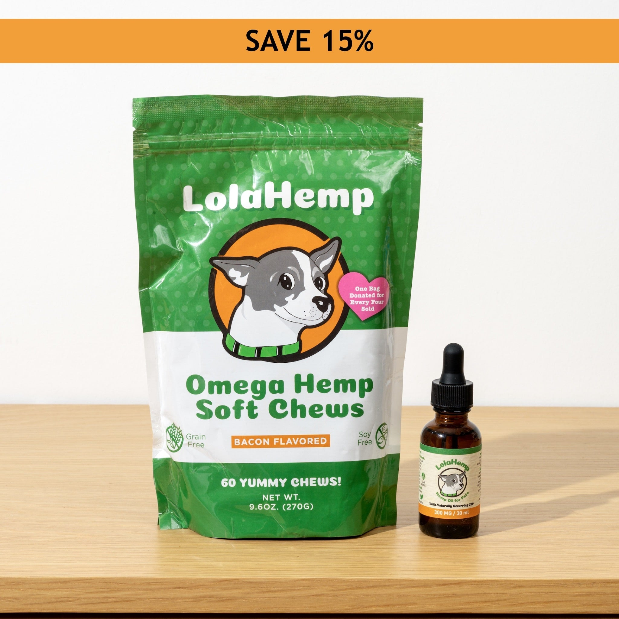 LolaHemp Medium Bundle || 300MG Oil + 60 Count Chews