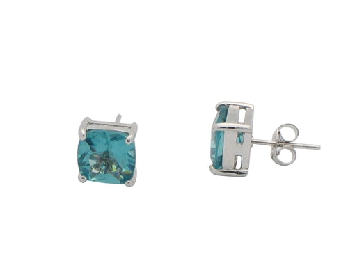 Sterling Silver Princess Cut Aquamarine Zirconia - Gem & Etc