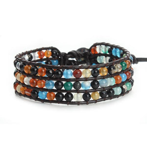 Beautiful Leather Bracelet with natural stones - Gem & Etc