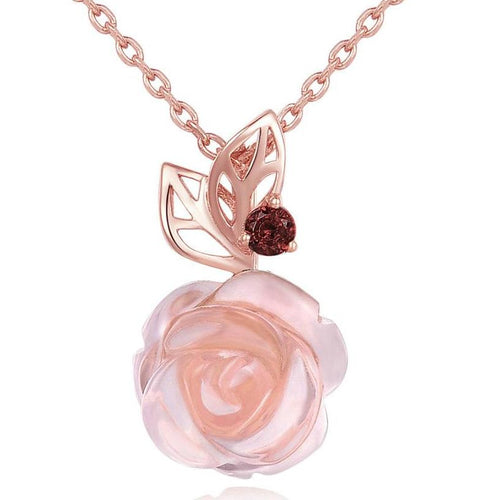Necklace in Sterling Silver Gold Plated with Flower in Natural Gemstone Rose Quartz - Gem & Etc