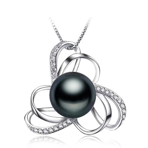 Pendant with Natural Freshwater Black Pearl - Gem & Etc