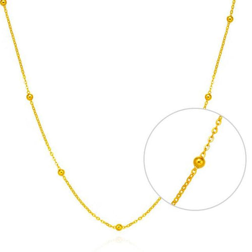 Necklace of Pure 18k Gold with Gold beads - Gem & Etc