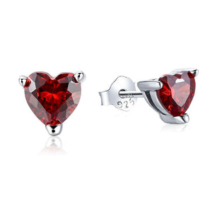 Trendy White 100% Real 925 Sterling Silver Earrings for Women Jewelry Cubic Zirconia Luxury Garnet Heart Stud Earring CE111 - Gem & Etc