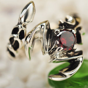 Sterling Silver Ring With Garnet Natural Stone Scorpion - Gem & Etc