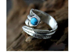 Real Pure 925 Sterling Silver Vintage Rings For Women Feather Ring With Natural Stone Jewelry Adjustable Opening For Men - Gem & Etc