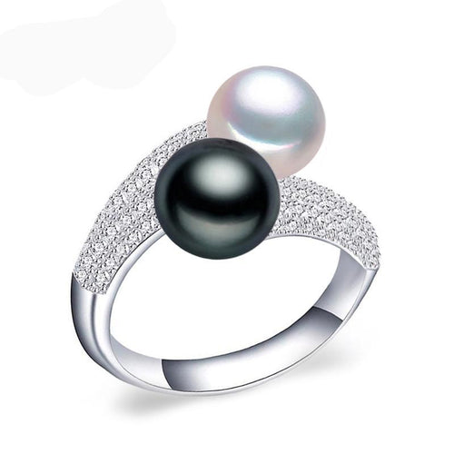 Sterling Silver Double Pearl Ring Black & White with Freshwater Pearls - Gem & Etc