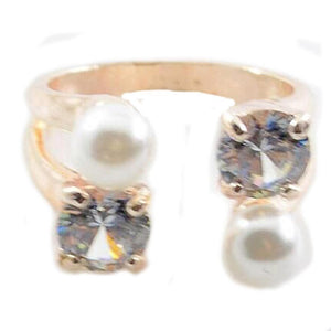 Pearl crystal ring in alloy metal - Gem & Etc